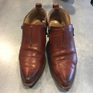 Frye / Brown Leather Moto Booties / 8.5